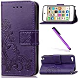 iPod Touch 5 Case,iPod Touch 6 Case for Girls,LEECO Fashion Synthetic PU Leather Wallet Back Flip Case Cover with Credit Card Slot Stand Holder for iPod Touch 5 6th Generation ,Purple Clover