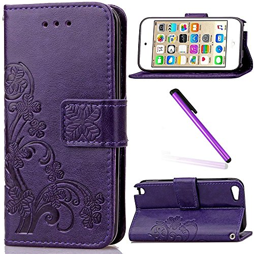 iPod Touch 5 Case,iPod Touch 6 Case for Girls,LEECO Fashion Synthetic PU Leather Wallet Back Flip Case Cover with Credit Card Slot Stand Holder for iPod Touch 5 6th Generation ,Purple Clover (Ipod 5 Case Purple Flowers)