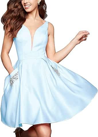 Amazon.com: V Neck Homecoming Dresses for Women Short