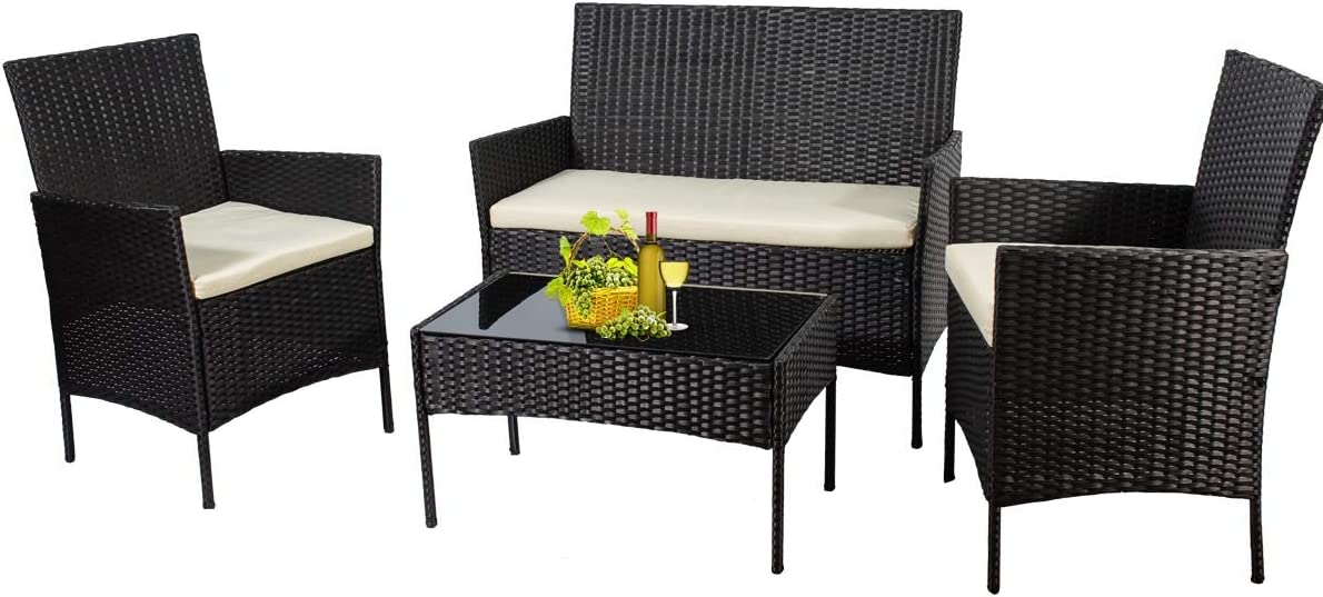 Patio Furniture Sets Outdoor 4 Pieces Indoor Outdoor Use,Conversation Sets with Cushion,Rattan Wicker Chair with Coffee Table for Indoor Backyard Lawn Porch Garden Poolside Balcony (Black)