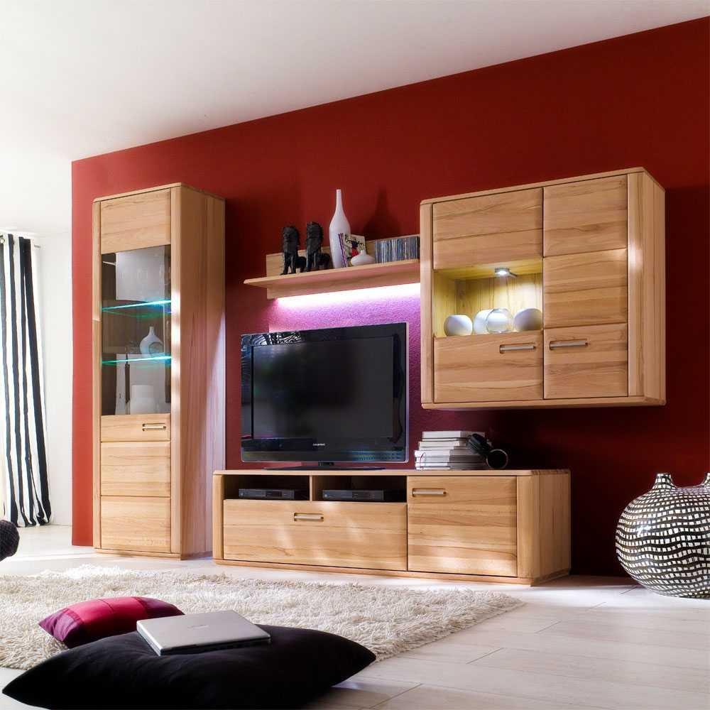 TV Wohnwand Phelix Aus Kernbuche 4 Teilig Ohne Beleuchtung Pharao24