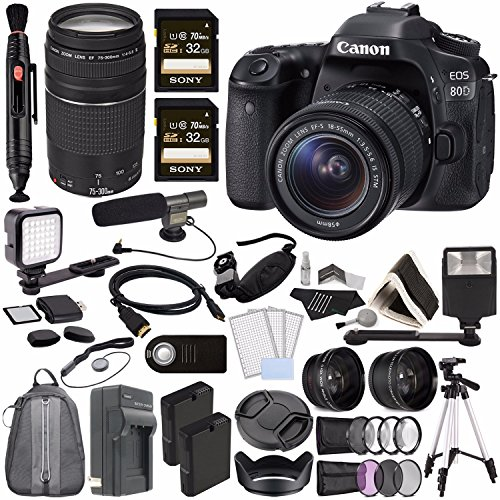 Canon EOS 80D DSLR Camera 18-55mm Lens + Canon EF 75-300mm f/4-5.6 III Lens + Sony 32GB SDHC Card + Battery + Charger + HDMI Cable + Remote + Card Reader + Flash + Tripod Video Creator Kit -  GreensCameraWorld, 1263C005-120216-2