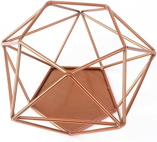 Aytai Portavelas geométrico de cobre hueco para centro de mesa ...