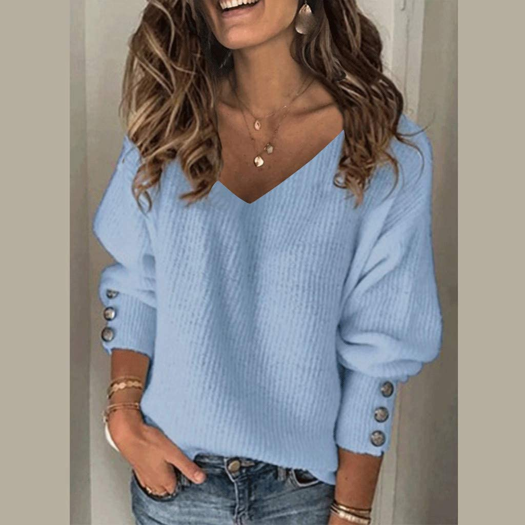 Fammison Womens V Neck Casual Print Tunic Long Sleeve Loose Solid Color T-Shirt Blouse Tops