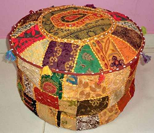 Triveni Art & Crafts Indian Handmade Ottoman Pouf Vintage Bohemian Patchwork Ottoman Home Living Room Decorative Foot Stool Cover,Embroidered