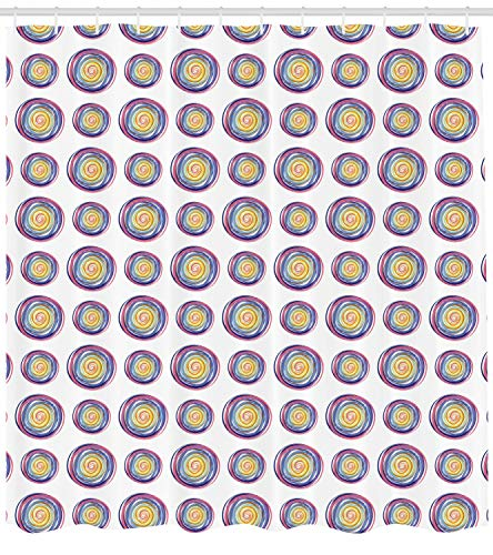 Ambesonne Geometric Shower Curtain, Rainbow Colored Circles in Form of Spiral Whirlpool on Plain Background Art Print, Cloth Fabric Bathroom Decor Set with Hooks, 84