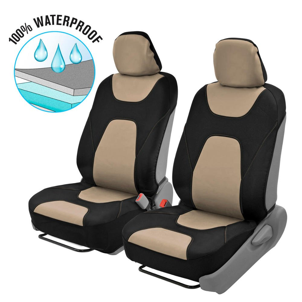 Motor Trend OS274 3 Layer Waterproof Car Seat Covers - Modern Black/Beige Side-Less Quick Install Auto Protection