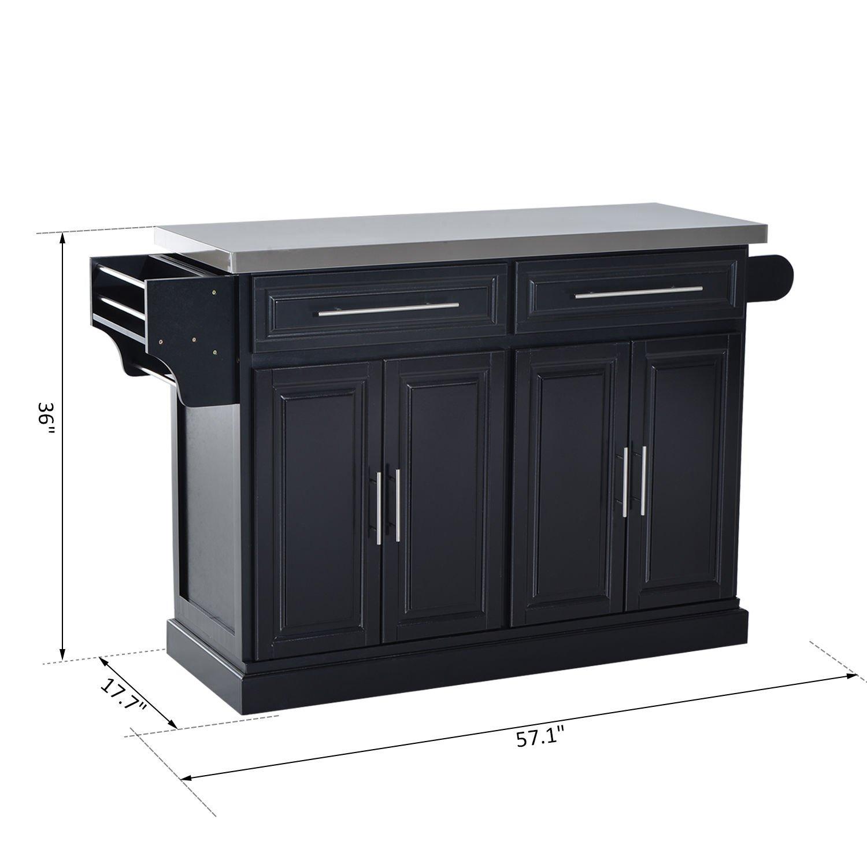 HomCom Modern Rolling Kitchen Island Storage Cart w/Stainless Steel Top - Black by HOMCOM (Image #8)