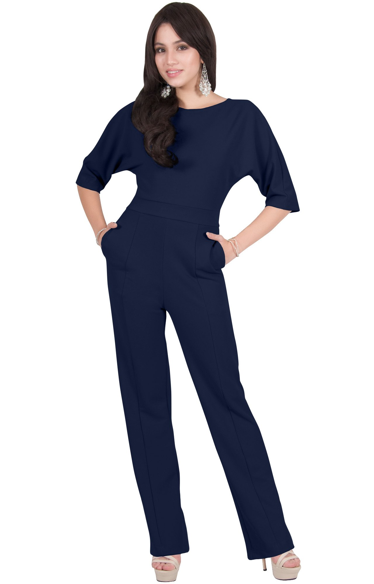 Viris Zamara Plus Size Womens Long Round Neck Batwing Short Sleeve Sexy Formal Cocktail Casual Long Pants One Piece Pockets Dressy Pant Suit Suits Outfit Playsuit Romper Jumpsuit, Navy Blue XL 14-16