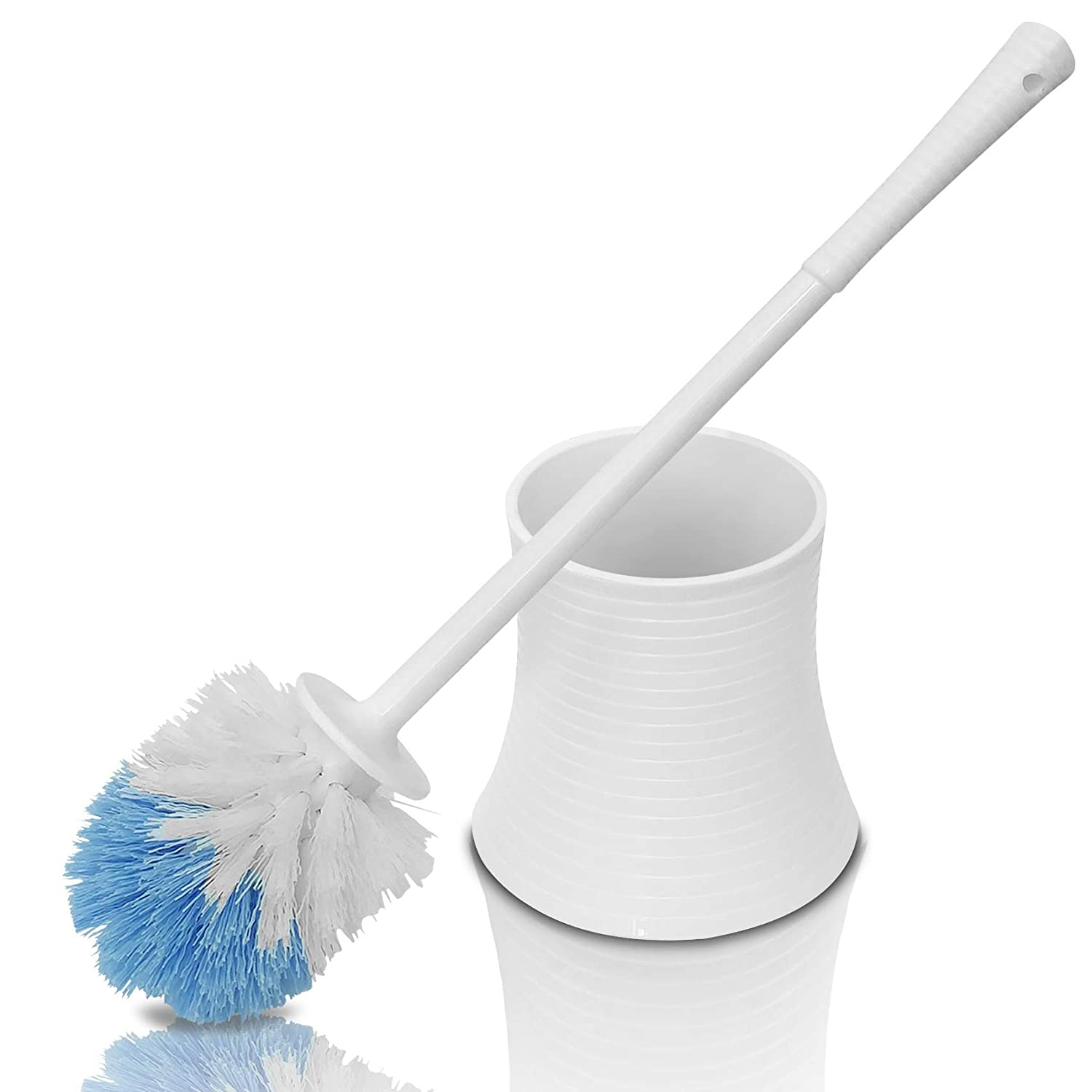 Leakproof (no Hole in Holder) Toilet Brush Set with Holder, White Pearl, Plastic - Chimpy - Bathroom Bowl Cleaner and Base, Good Grip Strong Bristles Chimpy Ltd.