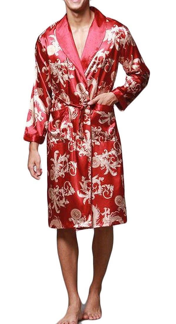 Conffetti Mens Printed Belt Long Sleeve Soft Bathrobe Kimono Summer Robe