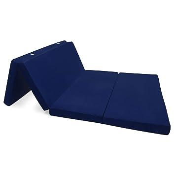 Beautissu Cómodo colchón Plegable Campix Auxiliar futón 120 x 195 x 7 cm Ahorra Espacio Tela Microfibra Azul Marino: Amazon.es: Hogar