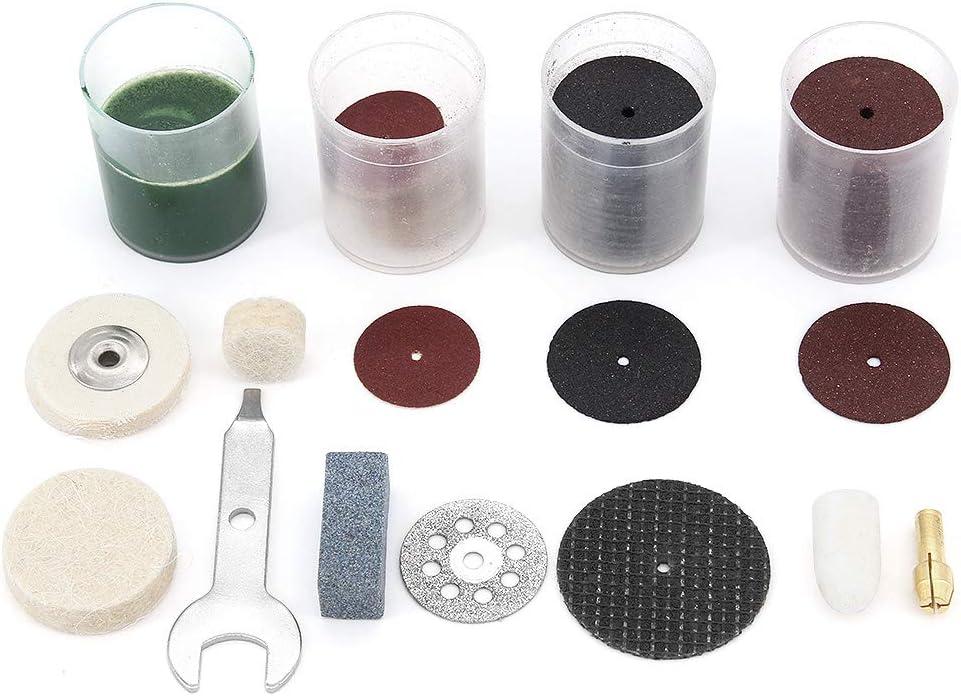 lijar Juego de accesorios para herramientas giratorias 216 v/ástagos de 1//8 para cortar tallar y pulir accesorios Dremel Yuhtech afilar