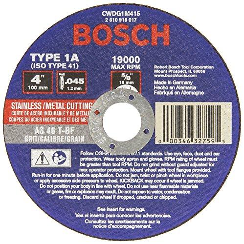 Bosch CWDG1M415 4 In. x .045 In. 5/8 In. Arbor Type 1A 46 Grit Metal Cutting Grinding Wheel