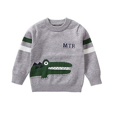 Miyanuby Ropa Bebe Niño,Invierno Cálido Tejer a Crochet Pullover Sudadera Sweater Cartoon Animal Cocodrilo