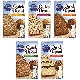 Pillsbury Quick Bread & Muffin Mix Variety 5 Pack Includes: Banana, Cranberry, Pumpkin, Apple Cinnamon, & Cinnamon Swirl