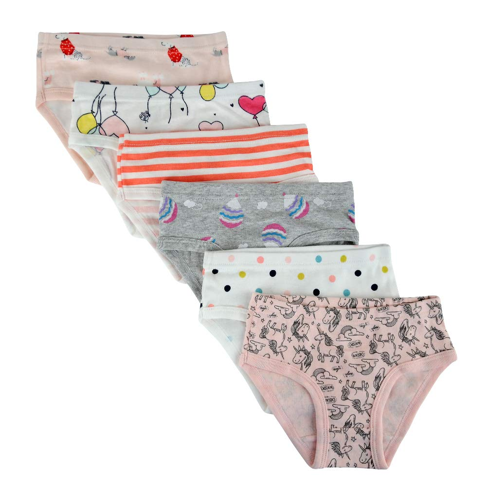 Closecret Kids Series Baby Soft Cotton Panties Little Girls' Assorted Briefs(Pack of 6) (5-6 Years, Style14) by Closecret