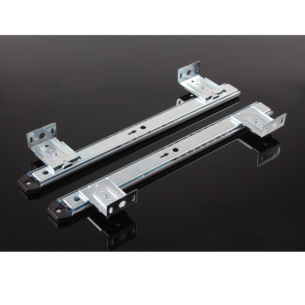 Plateado ajustable de alta capacidad HomDSim 3//4 de extensi/ón con rodamiento de bolas montaje bajo el escritorio con tornillos. de acero Gu/ía deslizante para teclado de escritorio 35,5 cm 1.06inch Width