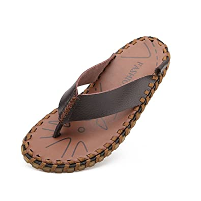 c1f7eaeb8 Image Unavailable. Image not available for. Color  Summer Beach Mens  Sandals Men s Flip Flops Shoes Genuine Leather Beach Thong Slippers Casual  ...