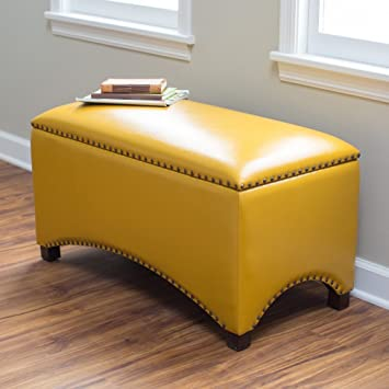 Surprising Premium Nailhead Storage Bench Modern Leather Window Seating Organizer Home Furniture Living Room Bedroom Entryway Indoor Flip Top Mustard Yellow Gmtry Best Dining Table And Chair Ideas Images Gmtryco