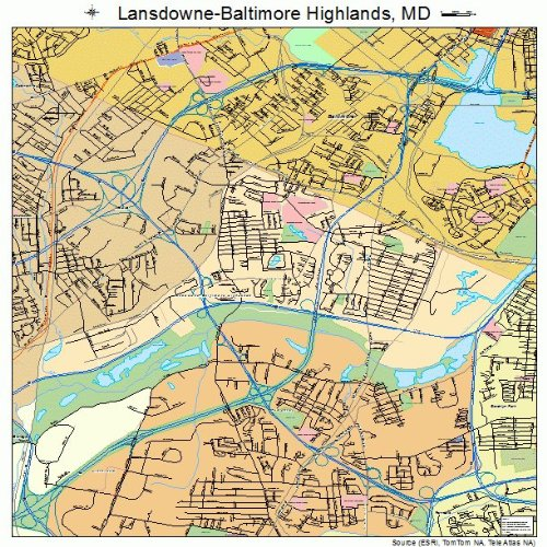 Baltimore Md Map (Large Street & Road Map of Lansdowne-Baltimore Highlands, Maryland MD - Printed poster size wall atlas of)