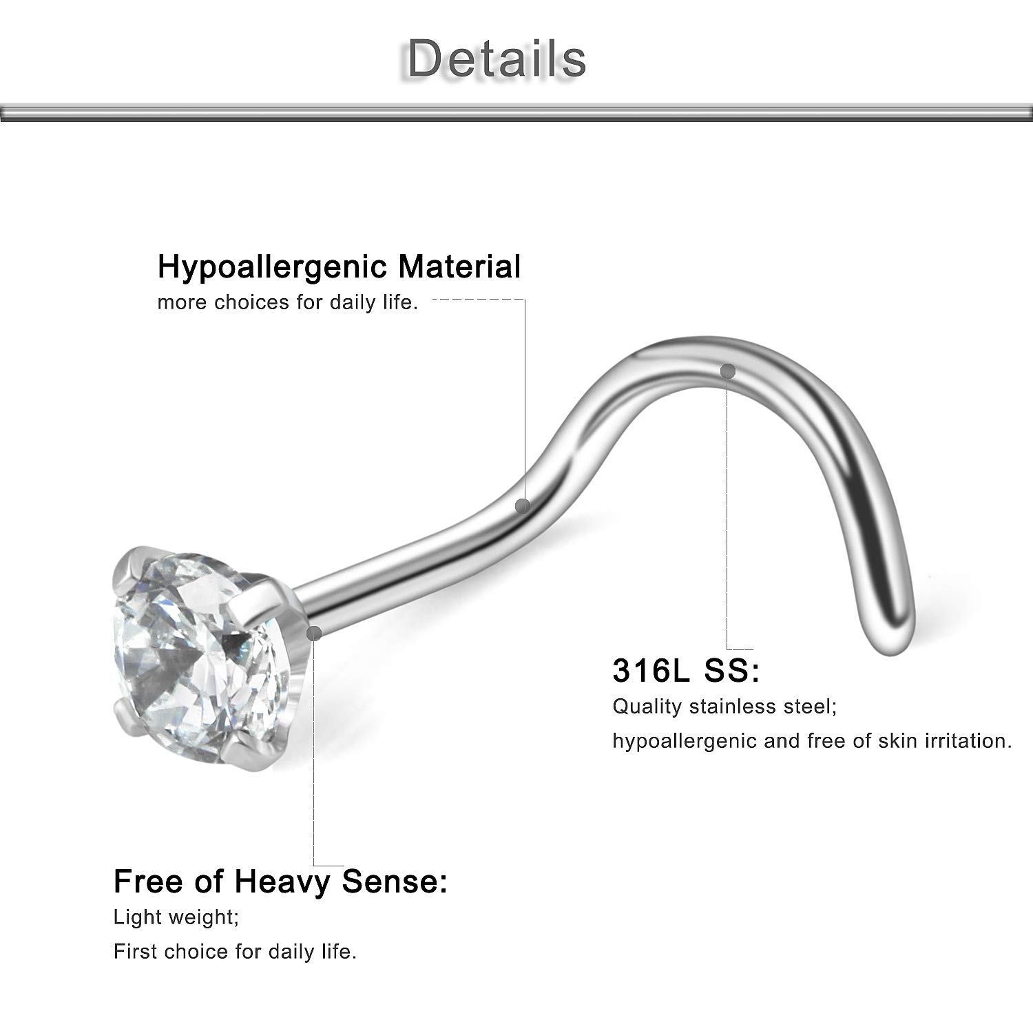 Yaalozei 10PCS 22G Stainless Steel 4-Prong-Setting Cubic Zirconia Screw L Shaped Bone Pin Nose Ring Stud Retainer Body Jewelry Piercing 1.5mm 2mm 2.5mm 3mm
