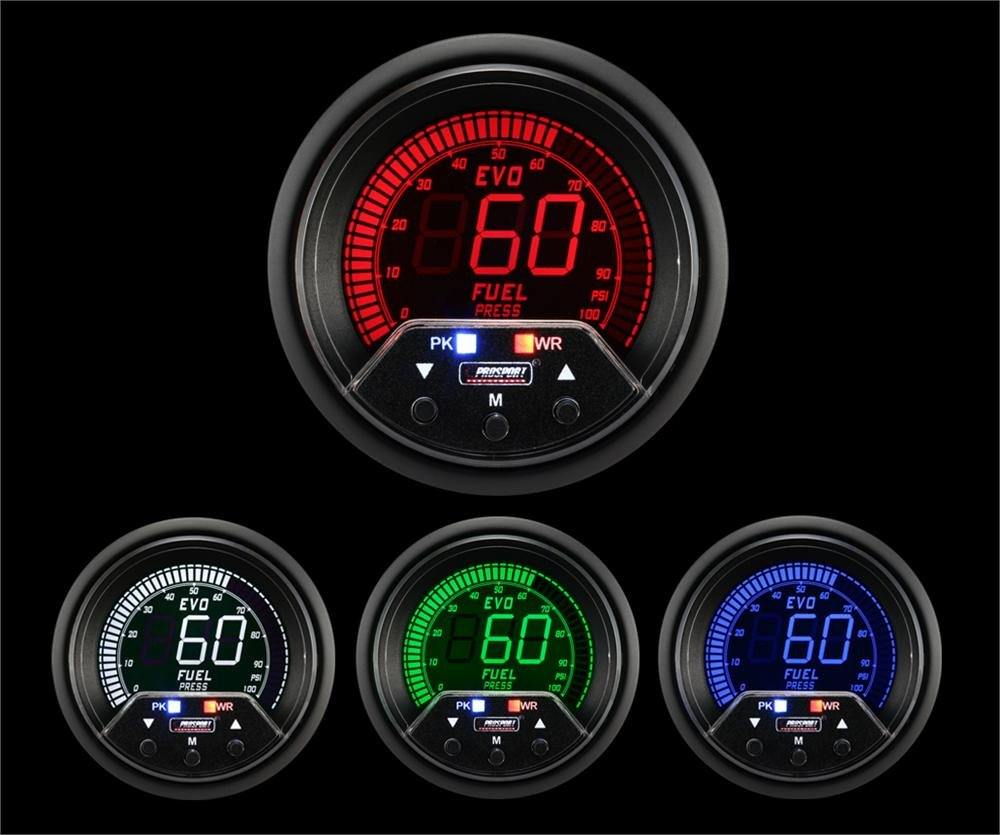 Prosport Universal 52mm Premium Evo Electrical Fuel Pressure Gauge Red/White/Blue/Green Prosport Gauges