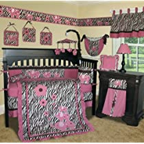 Custom Baby Girl Boutique - (Brown) Pink Zebra 13 PCS Crib Bedding