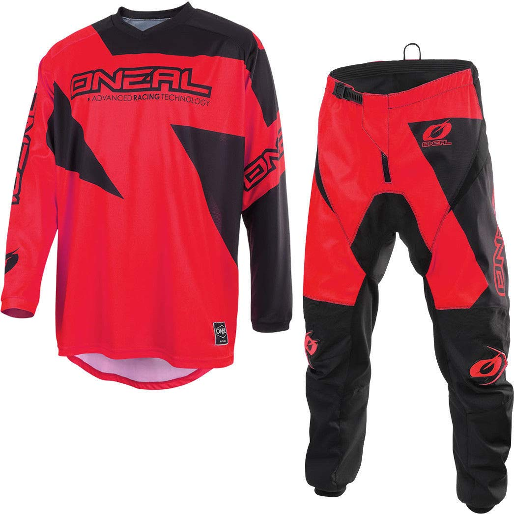 2019 ONEAL MATRIX Adult MX Motorcycle ATV Quad Dirt Bike Enduro Motocross Gear Protective Clothing Off Road Race Suit (RED) (RED : TOP (S), PANT : 30 inches)