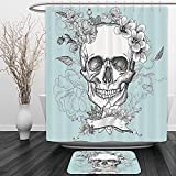 Vipsung Shower Curtain And Ground MatGrunge Decor Skull and Flowers Day of the Dead Mexican Traditional Celebration Symbolic Turquoise WhiteShower Curtain Set with Bath Mats Rugs