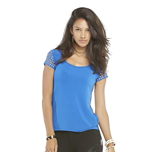 bc41e666ef971 Image Unavailable. Image not available for. Color  Nicki Minaj Women s  Studded High Low Top ...
