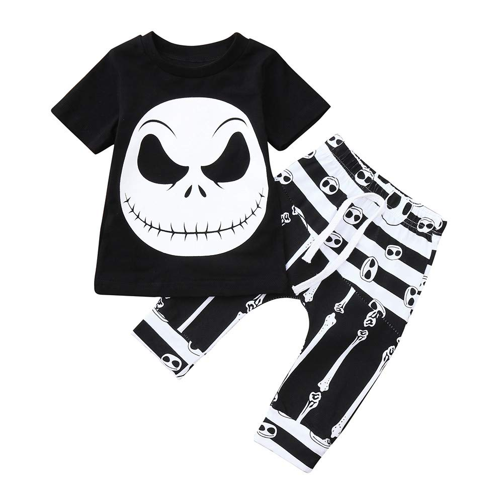 TM Clearance 2PCS Halloween Toddler Baby Little Boy Short Sleeve Grimace Print Top Jchen Pants Outfits for 0-3 Y