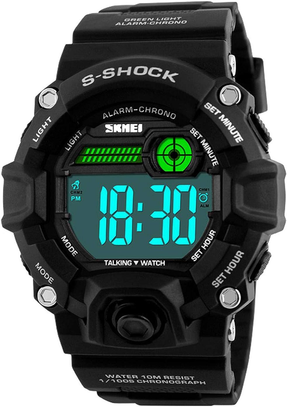 Men S Shock Sport Watch Talking Music Alarm Clock LED Digital Watches Outdoor Men Military Shockproof Waterproof Watch
