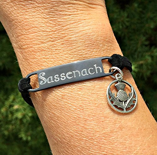 Sassenach Gunmetal Suede Leather Bracelet with ()
