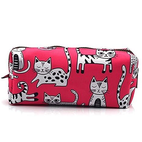 Estuche para lápices de gato rosa, bolsa de maquillaje, regalo para amante de los