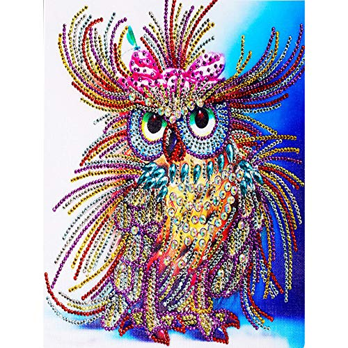 (Birdfly Partial Drill Cross Stitch Kits 5D DIY Crystal Diamond Unique Owl Painting Kits for Adults)