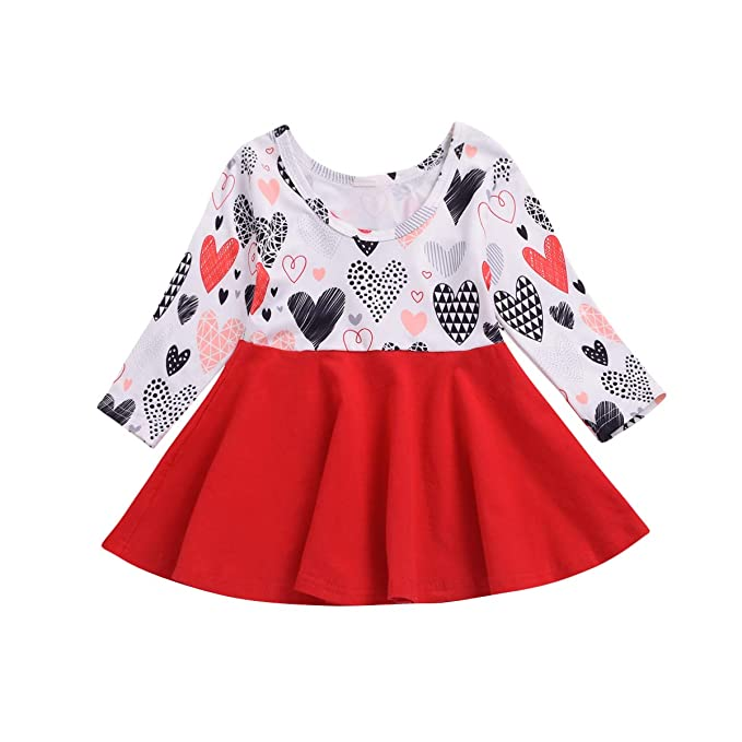 Amazoncom Valentines Day Toddler Baby Girls Dress Outfits Heart