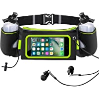 iRainy Hydration Running Belt W Two 12oz Water Bottles Touchscreen Running Pouch Belt Fits iPhone 6 Plus, 6S, Samsung S6, S7 for Running Jogging Marathons or Other Outdoor Activities