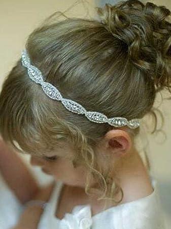 Amazon.com : Unicra Rhinestone Headband, Flower Girl Headband ...