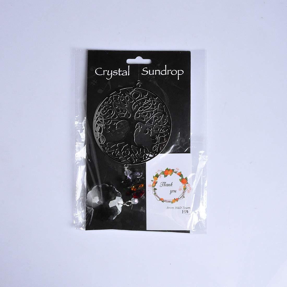 H/&D Handmade Crystal Suncatcher Beads Hanging Pendant Wedding Home Gift,Metal Butterfly Decor