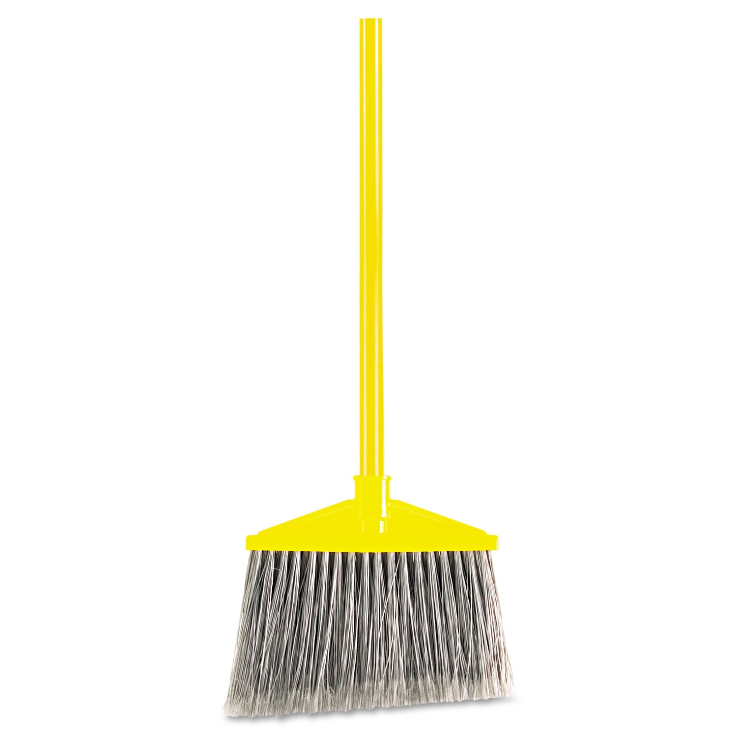 Rubbermaid Commercial 6375 10-1/2'' Sweep Face, Gray Color, Polypropylene Fill Flagged-Tip Angle Broom with Vinyl Coated Metal Handle