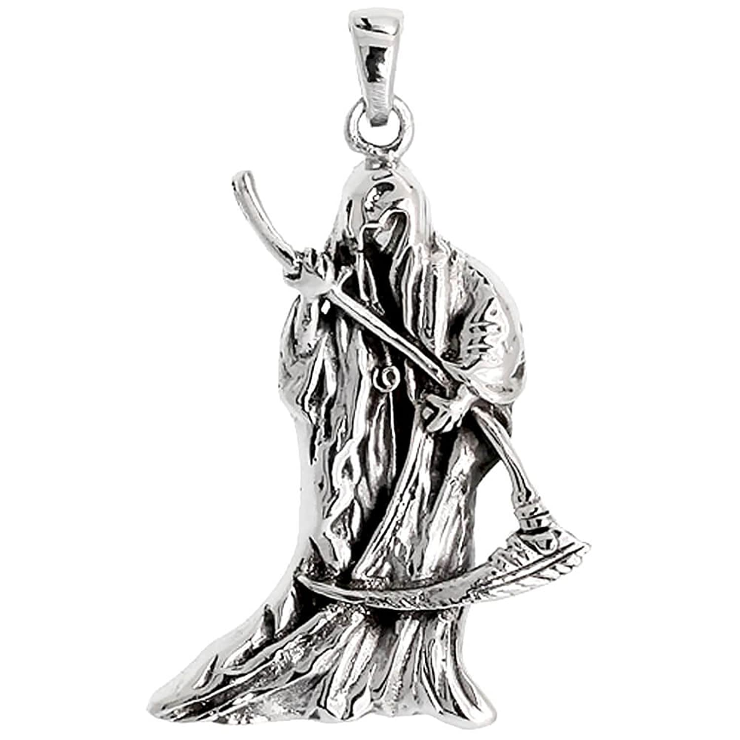 Sterling silver grim reaper pendant amazon jewellery mozeypictures Image collections