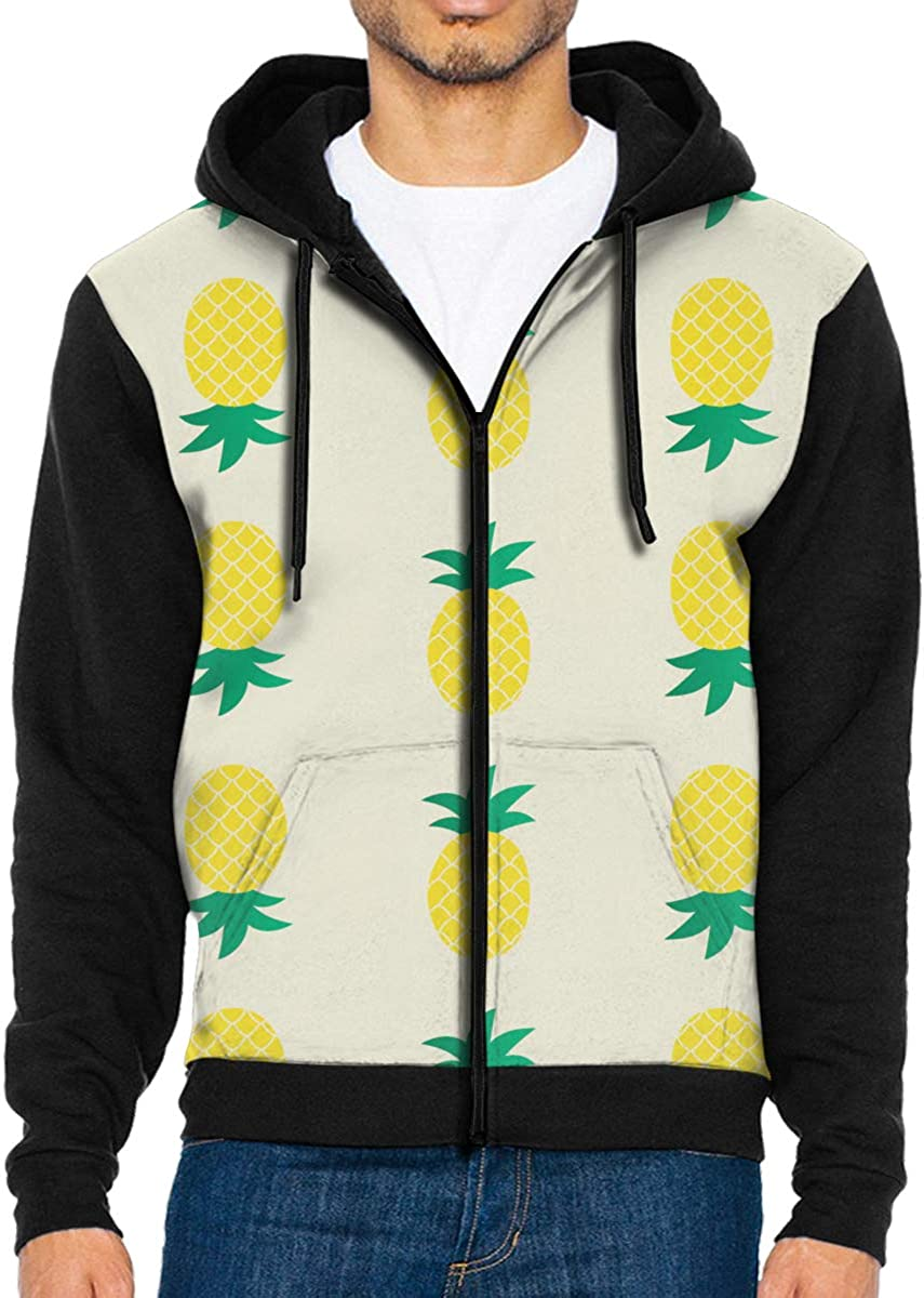 HEHE TAN Mens Pullover Hood Yellow Pineapple Zip Hoodies Hooded Popular Jackets Coats