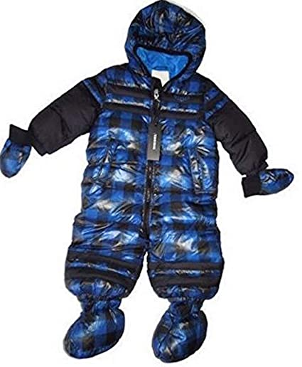 1e4224ae5 Amazon.com  Diesel Baby Boy Blue   Black Plaid 1 pc Bunting Snowsuit ...