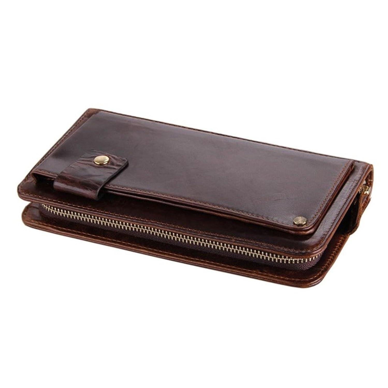 JUNDA Men'S Genuine Leather Long Checkbook Bifold Wallet Multi Pocket Id Card Holder