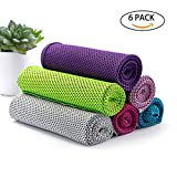 luloo 6 Pack Cooling Towel Instant Cooling Bandanas Soft Neck Wrap for Sports, Workout, Fitness, Gym, Yoga, Pilates, Travel, Camping