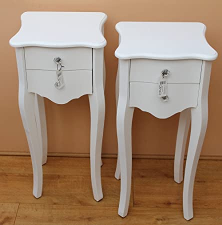Pair French Style WHITE Two Drawer Bedside Tables: Amazon.co.uk: Kitchen &  Home