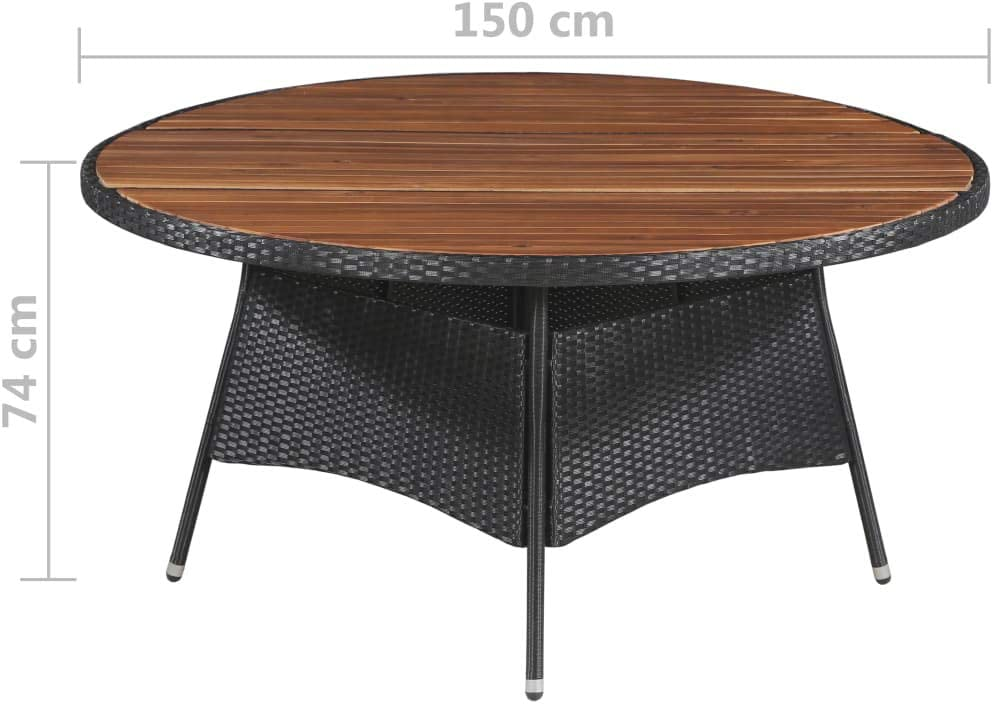 Tidyard Outdoor Dining Table Garden Table Round Poly Rattan and Solid Acacia Wood 115x74cm