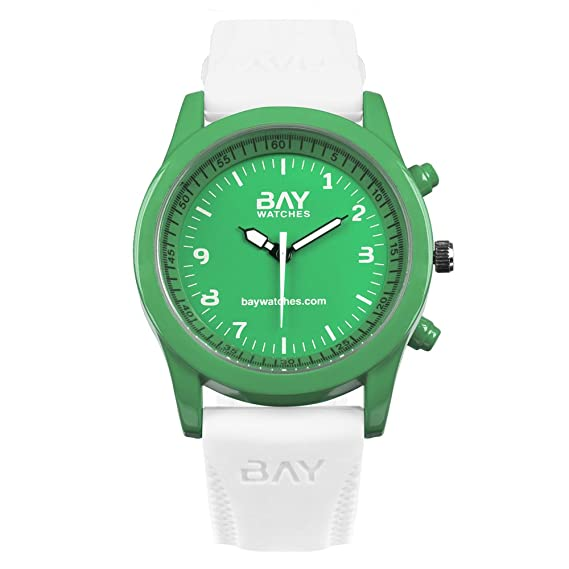 85eb23394469 Reloj Moda Hombre y Mujer Verde y Blanco de Pulsera Analógico COPACABANA vs  FIJI  BayWatches  Amazon.es  Relojes