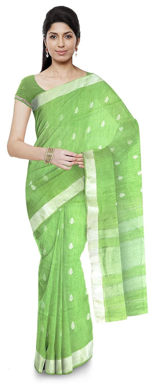 lime green tussar silk saree